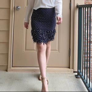 Ann Taylor polka dot fringe skirt 0